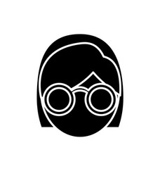Woman with glasses icon vector