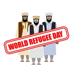 World refugee day expatriates in syrian garments vector