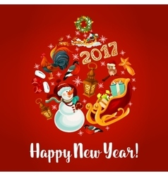 New Year poster with round babble vector image