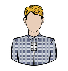 man with microphone icon cartoon vector image