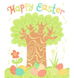 happy easter holiday card with a tree and painted vector image