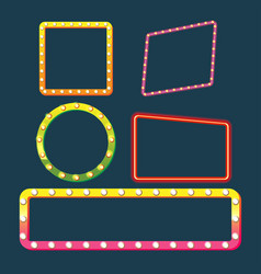 Frame border glow light set vector