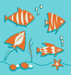set of marine elements fish seaweed bubbles ray vector image