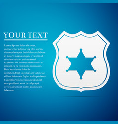 police badge flat icon on blue background vector image