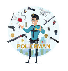 police officer elements round concept vector image