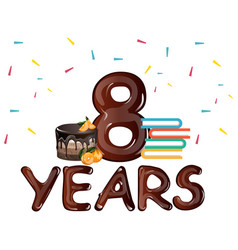 8th anniversary celebration with gift cake vector