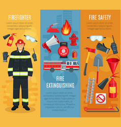 Firefighting banners set of fireman tools vector