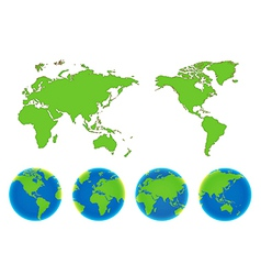 World map and compass of vector image