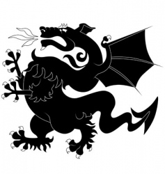 Black ancient dragon vector