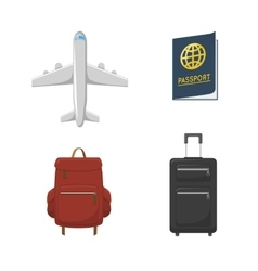 Airplane passport valises vector