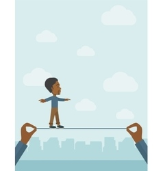 Black businessman walking on wire vector