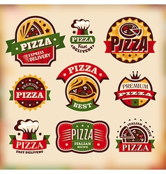 Set of vintage styled pizza labels vector