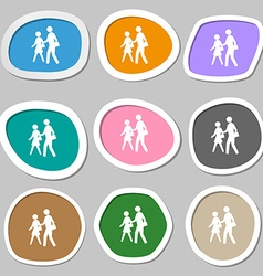 Crosswalk icon symbols multicolored paper stickers vector