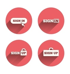 Sign in icons login with arrow hand pointer vector