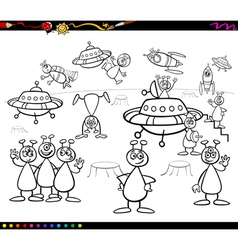 Aliens cartoon coloring book vector