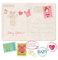 Baby shower card with set of stamps vector