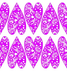 Pattern with closeup decorative violet hearts vector