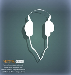 Headphones icon on the blue-green abstract vector