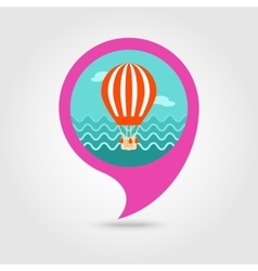 Hot air balloon pin map icon summer vacation vector