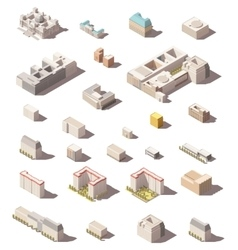 Minimalistic city buildings icon set vector