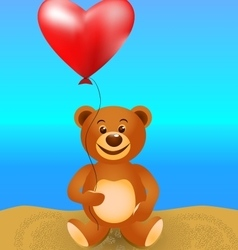Teddy bear with a balloon vector