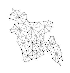 Bangladesh map of polygonal mosaic lines network vector