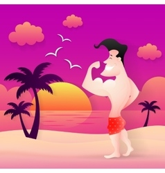 Beach muscular man vector image vector image