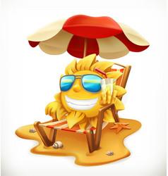 beach umbrella and sun 3d icon vector image