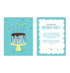 birthday invitation card with cake vector image