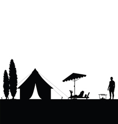 Camping in nature couple silhouette vector