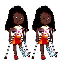 Cheerful and sad african american girl with a vector