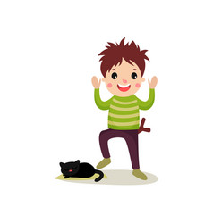 Cheerful teenager going to step on cat s tail bad vector