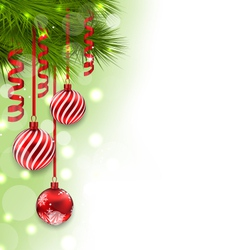 Christmas fir branches and glass balls copy space vector