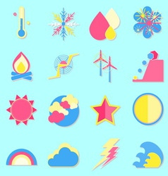 Climate color icons with shadow vector