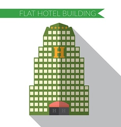 Flat design modern of hotel building icon with vector image vector image