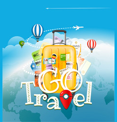 Go travel concept travel bag and different vector