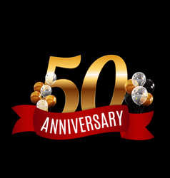 Golden 50 years anniversary template with red vector