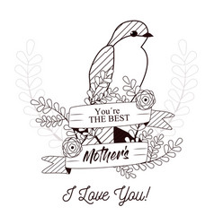 happy mothers day card with beautiful bird and vector image