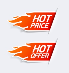 Hot price and hot offer symbols vector image vector image
