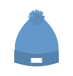 Knitted blue hat winter cap wool accessory for vector