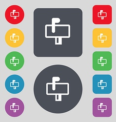 Mailbox icon sign A set of 12 colored buttons Flat vector image