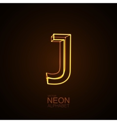 Neon 3D letter J vector image vector image