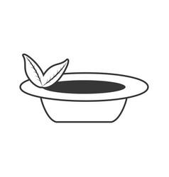 Organic food emblem outline vector