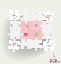 Paper cut of puzzle with heart paper and flowers vector