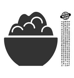 Porridge icon with work bonus vector