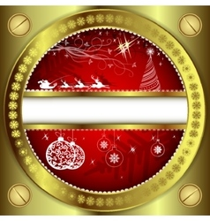 Red christmas background with golden frame vector