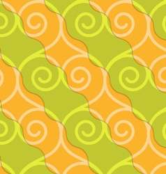 Retro 3d green and orange swirly hearts vector