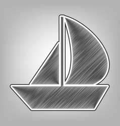Sail boat sign pencil sketch imitation vector