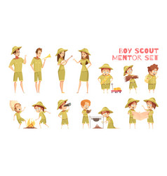 Scouts mentors cartoon icons set vector