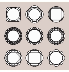 Set of Round Black Line Design Vintage Frames or vector image